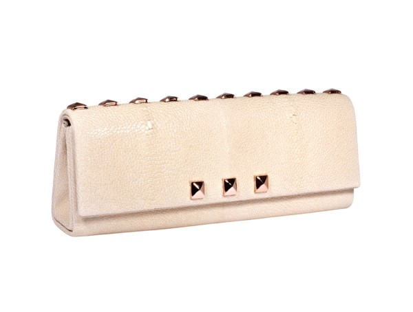 Zoe Clutch stingray white with pink golden studs