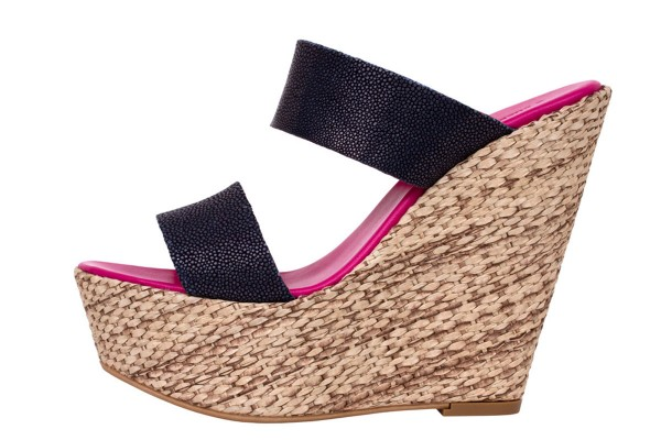 Luisa - Wedges Sandalen with stingray leather Navy
