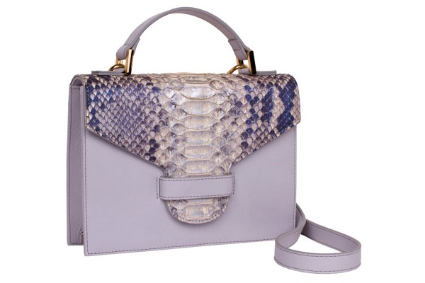 Suzy small cross body suitcase bag made of nappa leather light grey and python in silver blue metallic