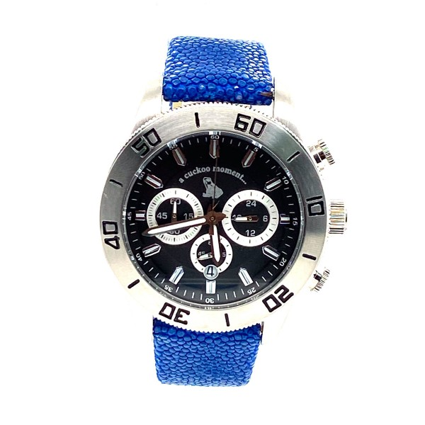 Chronograph watch made of silver steel with black clock face Shagreen royal blue a-cuckoo-moment
