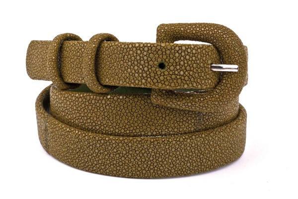 Stingray leather belt with covered buckle kiwi @a-cuckoo-moment