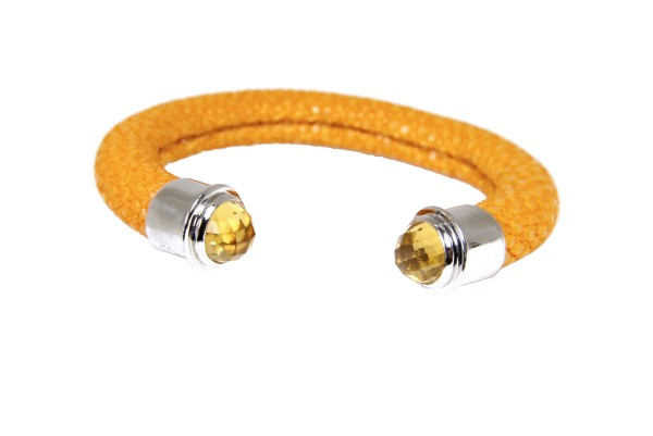 Bangle in stingray leather sun with Citrin Cabochon facet